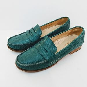 Cole Haan Teal Penny Loafers Size 8 Snake Embossed